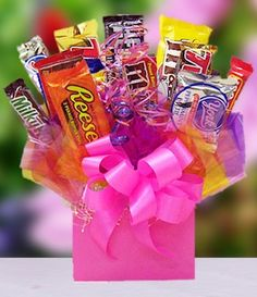 Pink Pizzaz Candy Bar Bouquet from All About Gifts and Baskets