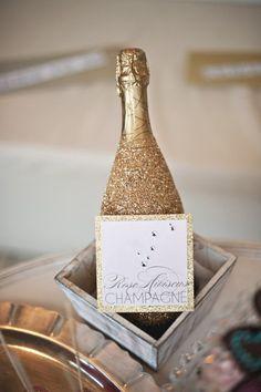 Gold Glittered Champagne bottle