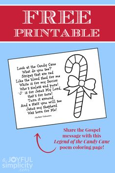 Use this free Legend of the Candy Cane poem coloring page to share the life-giving message of our Savior with the children in your life! Candy Cane Poem, Candy Cane Story, Candy Cane Crafts, Candy Canes, Preschool Christmas, Christmas Activities, Christmas Crafts For Kids, Christmas Fun, Christmas Ornaments