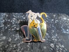 Far Fetched Dog and Cat pin Vintage Pet Pin by KLBVintageWares