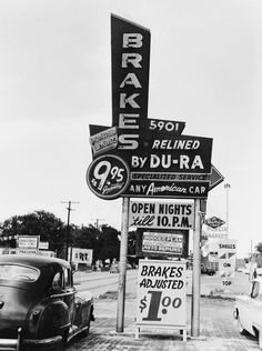 """Here is an Auto Shop on Nebraska Ave at Henry Street in Seminole Heights, pictured in 1956. Notice the neon sign says entire brake job for $9.95! This photo is among 200 in my new book """"Vintage Tampa Signs and Scenes""""."""