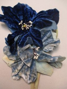 Antique Victorian Blue velvet flower fr dress or Bonnet Couture Embroidery, Gold Embroidery, Embroidery Fashion, Embroidery Jewelry, Blue Velvet Dress, Velvet Flower, Shabby Flowers, Fabric Flowers, Denim Flowers