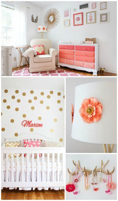 Coral and Gold Polka Dot Baby Girl Nursery - love all the details + this coral ombre dresser is everything!