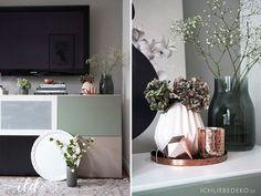 Wohnzimmerdeko-in-Kupfer-und-Mint Alpina Feine Farben No.06