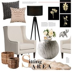 Sitting Area | Blush and Black by emmy on Polyvore featuring interior, interiors, interior design, home, home decor, interior decorating, Cappellini, Home Decorators Collection, UGG and Eichholtz