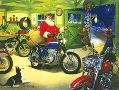 Santa and his cafe racer motorcycle | Biker Christmas Card