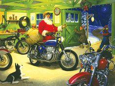 Santa and his cafe racer motorcycle | Biker Christmas Card
