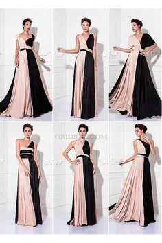 Chiffon+Floor+Length+Pink+Convertible+Dress+A+Line+Bridesmaid+Dress+Ob0019