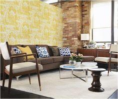 prints-Mid-Century Modern Living Room Design Ideas