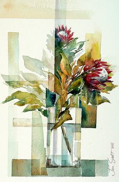 Proteas, Jan Smit - I think this would still have been wonderful without the artsy rectangular things Abstract Watercolor, Watercolor And Ink, Watercolour Painting, Watercolor Flowers, Watercolors, Gouache, Arte Floral, Christen, Art Sketchbook