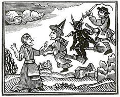 Woodcut of witches flying, from Mathers' Wonders of the Invisible World (1689) and used in an 18th-century pamphlet about the Lancashire witches.