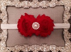 Glamorous red with Pearl embellishment headband for baby/toddler  Please like my page www.facebook.com/littlepearlbowtique Custom Headbands, Baby Headbands, Please Like Me, Baby Style, Embellishments, Glamour, Pearls, Facebook, Red