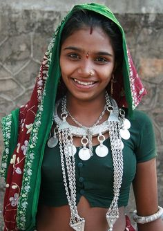 Indian Village Girl Wearing Silver Statement Jewelry