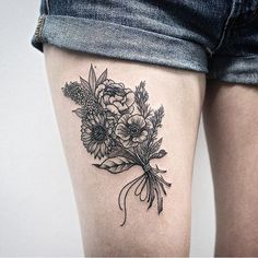 Image result for small flower bouquet tattoo
