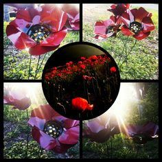 Metal flowers, red poppies, by gardendreamsdecor.com