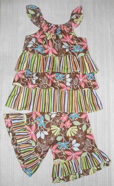 Girls 5-6 Ruffle capri pant and ruffle swing style shirt.
