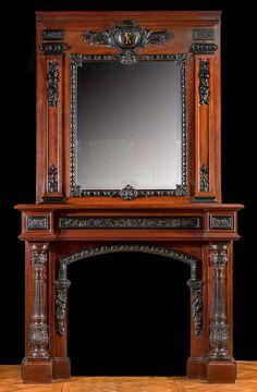 Tall French Baroque Mahogany & Ebony Fireplace Mantel
