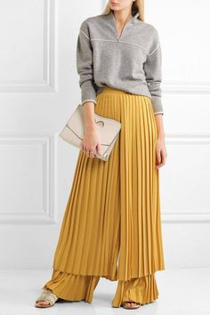 Yellow plissé-crepe Concealed hook and zip fastening at back 100% polyester Dry clean Made in ItalyAs seen in The EDIT magazine