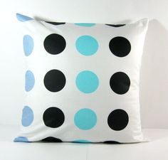 16X16 Black and Blue Polka Dots Decorative Pillow. $15.00, via Etsy.