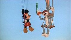Mickey Mouse and Bugs Bunny meet for the first (and only time), in animation history.