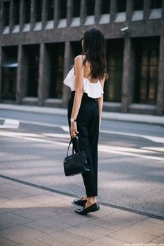 ruffle top - high waisted pants - loafers | fashion cuisine