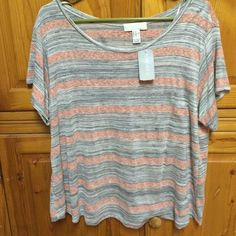 Forever 21 T-Shirt Cute pink and grey striped T-Shirt. Open to offers. New with tags. Forever 21 Tops Tees - Short Sleeve
