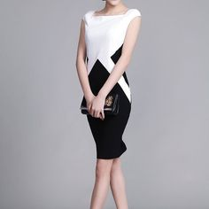 afc0c49a2b6 Smart   Casual Dress Womens office wear black and white patchwork dress  made to size formal dress Elegant Party dress evening dress CC18