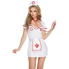 YSMARKET Sexy Costumes For Adults 3pcs Flirty Night Women Sexy Nurse Costume halloween Costume Kits SA8957 #Nurse Halloween Costumes    1          Sexy Costumes For Adults 3pcs Flirty Night Women Sexy Nurse Costume halloween Costume Kits         Detail    Strut your stuff in this 3pcs Flirty Night Nurse Costume wholesale by Dear-Lover! This sultry role play costume features a white dress with red trim,...