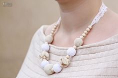 Nursing mom necklace/Teething necklace/Breastfeeding Necklace with vintage lace -white, beige, natural wooden beads. $28.00, via Etsy.
