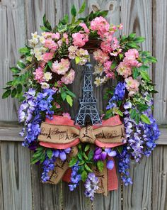 IGW Gallery: Paris in Spring Wisteria and Cherry Blossom Wreath, XXXLarge, Eiffel Tower