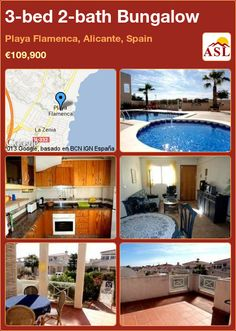 3-bed 2-bath Bungalow in Playa Flamenca, Alicante, Spain ►€109,900 #PropertyForSaleInSpain