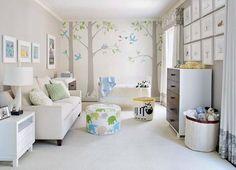 Baby Boy Nursery Ideas with Beautiful Tree Wallpaper