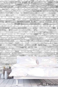 Old Brick Wall Mural, as seen on Cityline, is a realistic grey brick wallpaper. The black and white design has a textured look, although it's printed on a smooth, matte wallpaper. It's the perfect pattern for a living room and kitchen, too. The light and airy removable wallpaper is easy to hang and eco-friendly! Old Brick Wall, Grey Brick, Faux Brick Wallpaper, Old Bricks, Black And White Design, Wall Murals, Eco Friendly, Smooth, Living Room