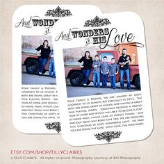 "Would make a good adoption announcement   YOU PRINT Custom Christian ""Wonders of His Love"" Christmas Photo Card and Year End Newsletter Family Letter Update in OneTillyClaires, $15.00"