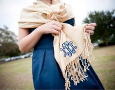 Monogrammed Pashminas - Perfect for Bridal Attendants & Gifts