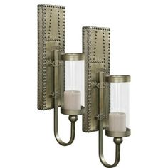 Silver champagne aluminum with decorative nail head trim  Wall Sconces,
