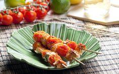 Рыба на шпажках с томатами Chili, Green Beans, Shrimp, Meat, Vegetables, Recipes, Food, Rye Bread, Deep Frying