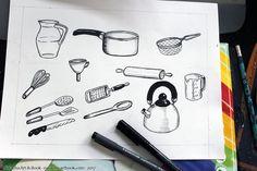Ustensiles de cuisine en noir et blanc