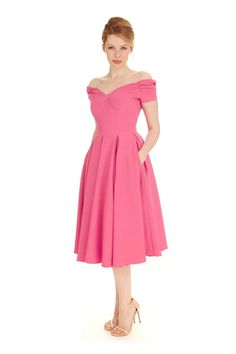 Inspired by Old Hollywood the Fatale Hot Pink Luxe Crepe Prom Dress  features a striking off the shoulder boned ... 97d5fee4686c5
