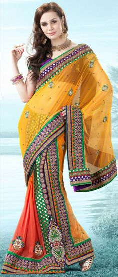 Mango #Yellow and Orange Net #Lehenga Style #Saree With Blouse @ $188.37