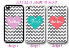 GREY CHEVRON TEAL PINK HEART PERSONALIZED MONOGRAM CASE FOR IPHONE 7+ 6 6S SE 5S #UnbrandedGeneric