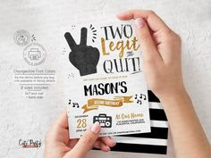 Download and print Two Legit to quit party invitations now! Try before you buy it. #twolegittoquit #toolegittoquit #2legit2quit #secondbirthday Second Birthday Boys, Birthday Themes For Boys, Kids Party Themes, Birthday Party Themes, Boy Birthday, Party Ideas, Digital Invitations, Printable Invitations