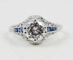 Art Deco Platinum Sapphire and Diamond Filigree