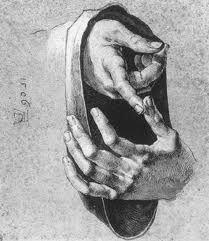 Estudo de mãos. Artista: Albrecht Dürer (1471-1528).
