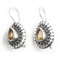 Bali Silver Citrine Earrings Designer Dot Jewelry Secretgardengems