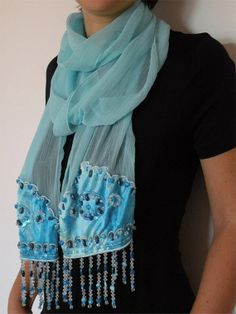 FREE SHIPPING Silk Scarf in Blue/ Hand Painted by EkatIrinaArt, €45.00