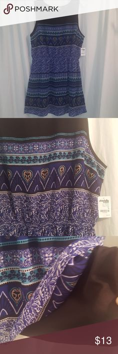 Charlotte Russe Dress Black & blue patterned dress, has different designs throughout. Elastic waist / pull on style. Fully lined. Size XL. NWT. Charlotte Russe Dresses Mini