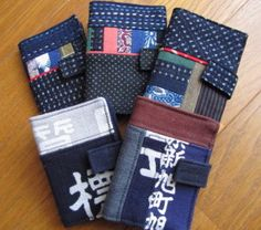 Cellular phone case made of Japanese old apron for merchant