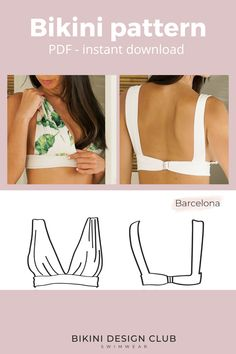 Very comfortable, BARCELONA bikini top has two medium straps over the shoulders and one in the back. It closes with plastic or metal clasp for more comfort. If you want, you can also tie a bow on the back.  It fits busts from 32 to 38 cup C/D. It's the perfect option for less fuller breasts because of the illusion given by the darts but also perfect for the fuller busts, since the darts adjust to the breasts.