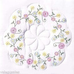 Stamped White Quilt Blocks Of Flowers Embroidery Store, Crewel Embroidery, Cross Stitch Embroidery, Embroidery Patterns, Embroidered Quilts, Craft Online, Needlepoint Kits, Quilting Tips, Pattern Blocks